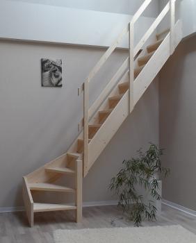 tischlerei treppen und gel nder raumspartreppe mit gel nder 1 4 gewendelt fichte 61cm breit. Black Bedroom Furniture Sets. Home Design Ideas