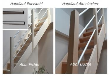 tischlerei treppen und gel nder raumspartreppe mit alu gel nder 1 4 gewendelt fichte 75 cm breit. Black Bedroom Furniture Sets. Home Design Ideas