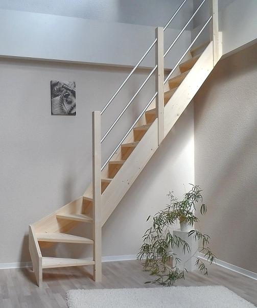 tischlerei treppen und gel nder raumspartreppe mit alu gel nder 1 4 gewendelt fichte 61 cm breit. Black Bedroom Furniture Sets. Home Design Ideas