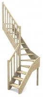 tischlerei treppen und gel nder raumspartreppe 1 4 wendelung mittig fichte buche 60 cm breit. Black Bedroom Furniture Sets. Home Design Ideas